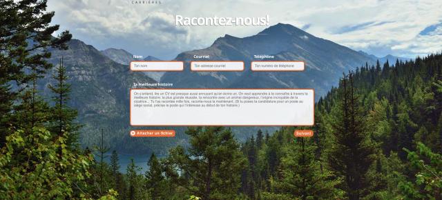 """Page """"Racontez nous votre Histoire"""" sur le site de Sail Carrière"""