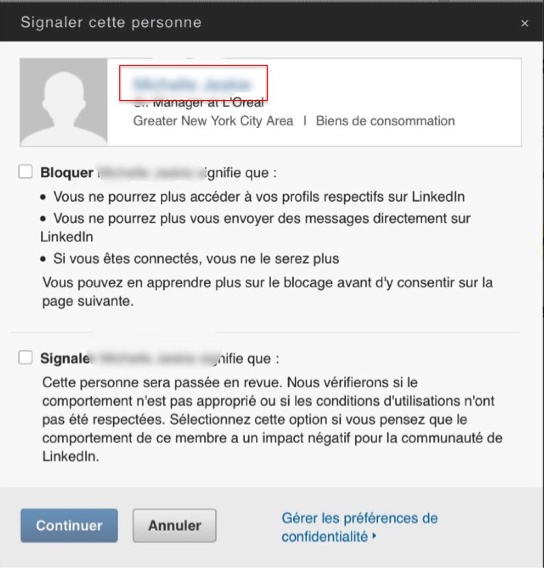 Linkedin - Bloquer Profile