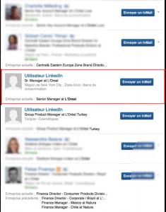 Liste de résultats de profils Linkedin